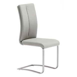 Braatz Leather Upholstered Side Dining Chair In Brushed Chrome (Set Of 2) By Brayden Studio