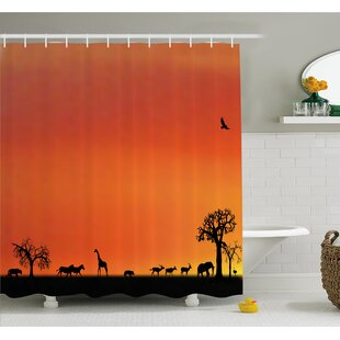 Wildlife Panorama of Safari Animals Gulls Reflections in Background at Sunset Shower Curtain Set