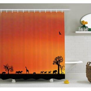 Wildlife Panorama of Safari Animals Gulls Reflections in Background at Sunset Shower Curtain Set
