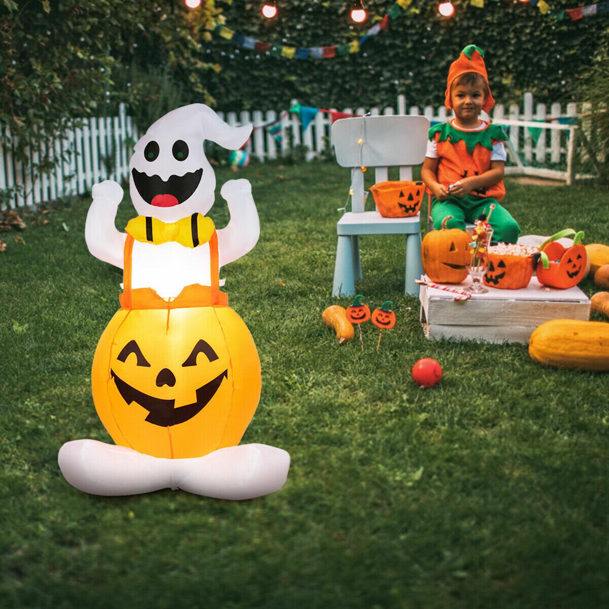 Halloween Blow Up Ghost In Pumpkin With Light Inflatable