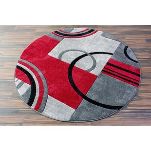 Herring Galaxy Waves Gray & Red Area Rug by Ebern Designs
