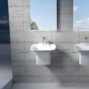 Compare Circular Stone 20 Semi-Pedestal Bathroom Sink By InFurniture