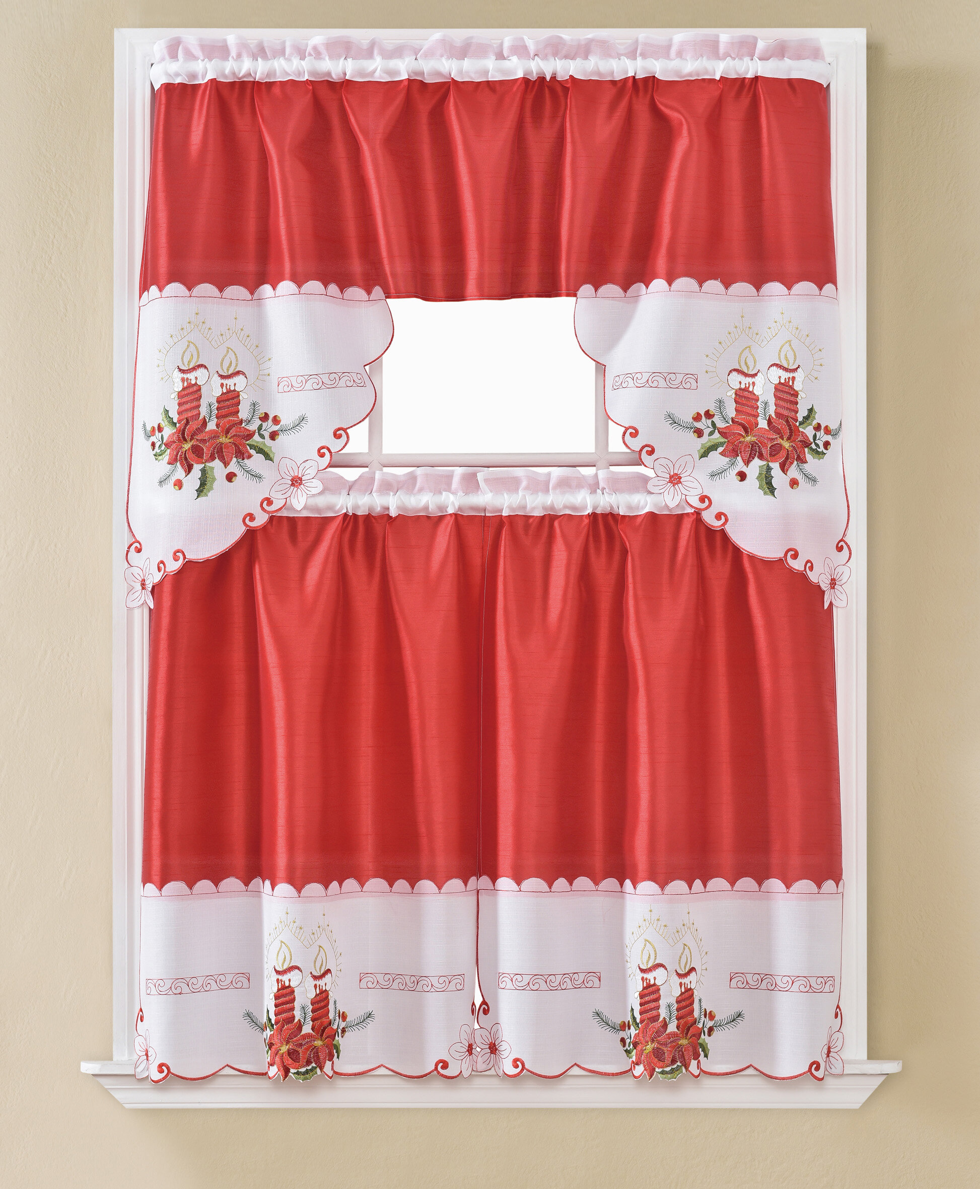 White Rt Designers Collection Eden Lace Kitchen Curtain Tier And Valance Set