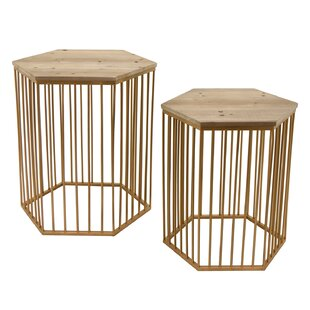 Bungalow Rose Contemporary Wood/Metal 2 Piece Nesting Tables (Set of 2)