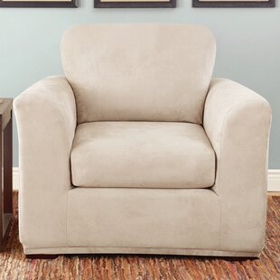 Stretch Suede Box Cushion Armchair Slipcover