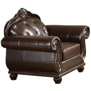 Clive Button Tufted Faux Leather Upholstered Rolled Arms Armchair by Astoria Grand