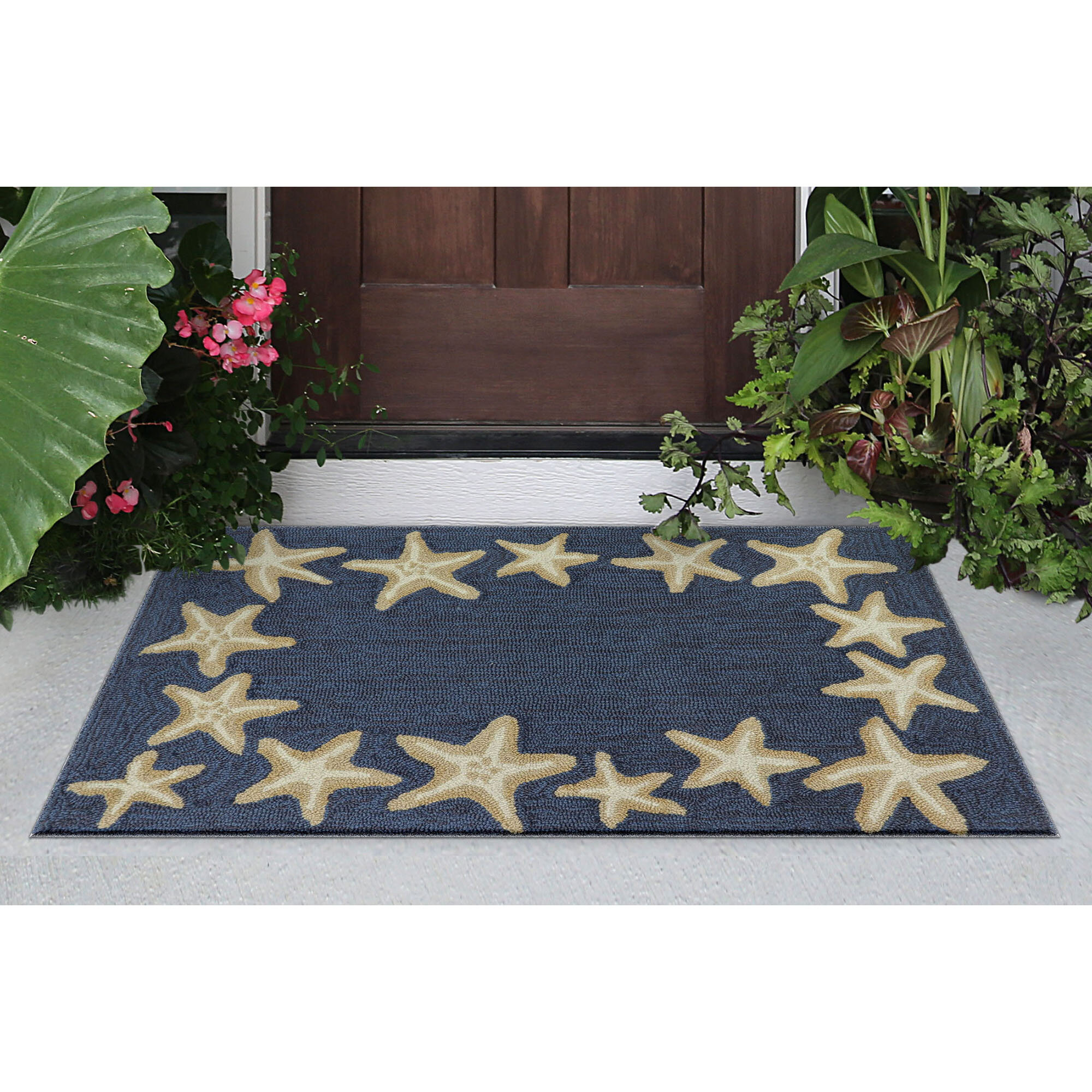 Highland Dunes Claycomb Starfish Border Hand Tufted Denim Indoor Outdoor Area Rug Reviews Wayfair
