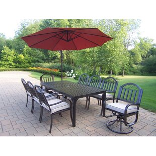 Lisabeth Modern 9 Piece Dining Set with Cushions and Umbrella