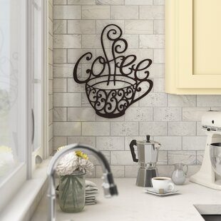Coffee Scroll Metal Cup Wall Art Kitchen Restaurant Vintage Coffee Shop Decor