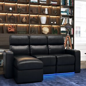 Leather Home Theater Sofa (Row of 3) (Set of 3) by Red Barrel Studio