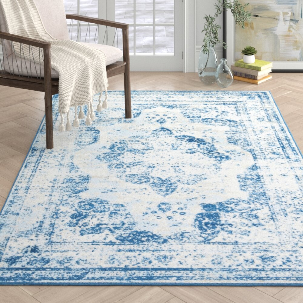 Mistana Brandt Oriental Blue Area Rug Reviews Wayfair