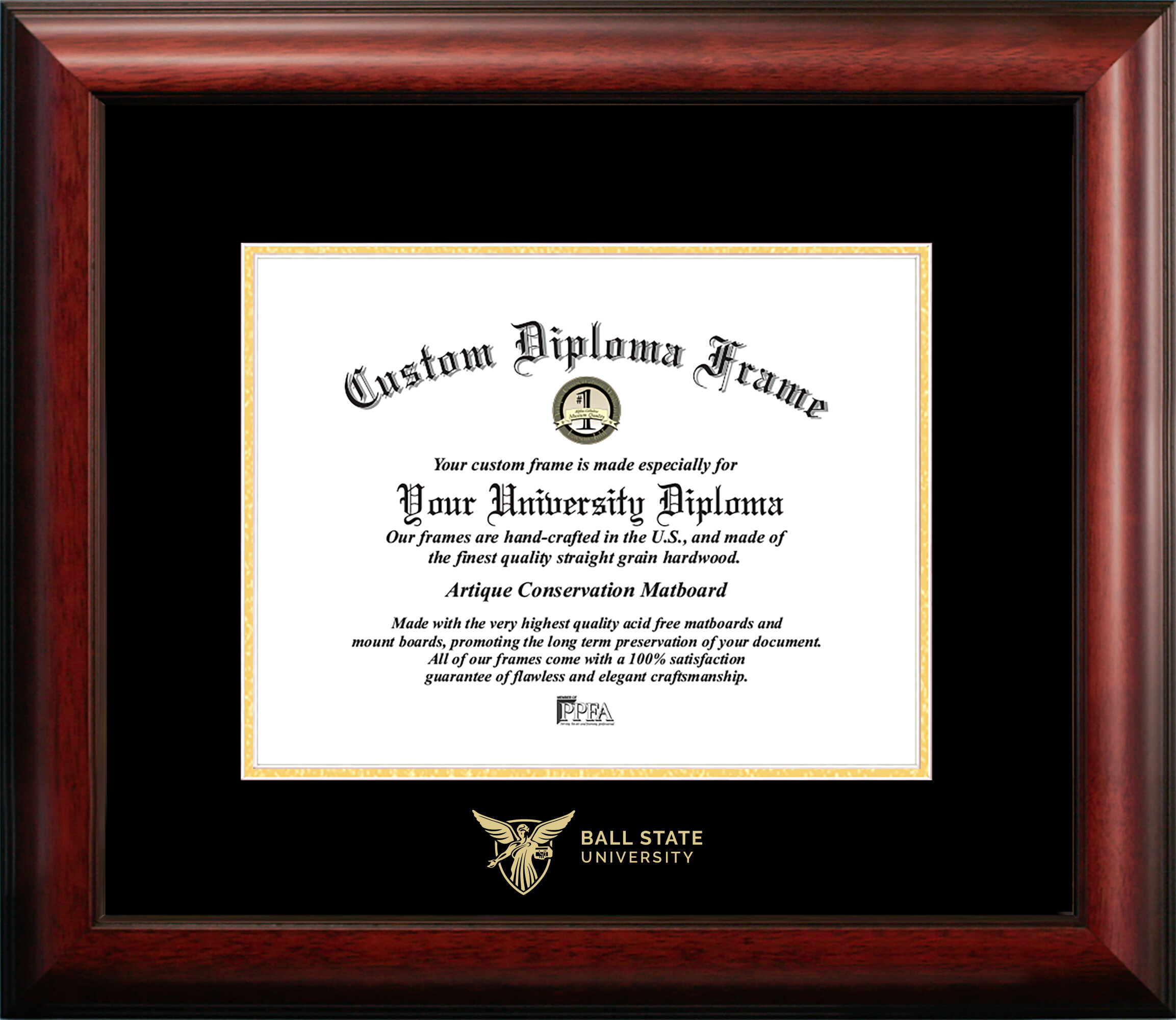One Size Campus Images NCAA Ball State Cardinals Unisex Silver Medallion Frame Ball State University 10w x 8h Silver Embossed Diploma Frame Lithograph Brown