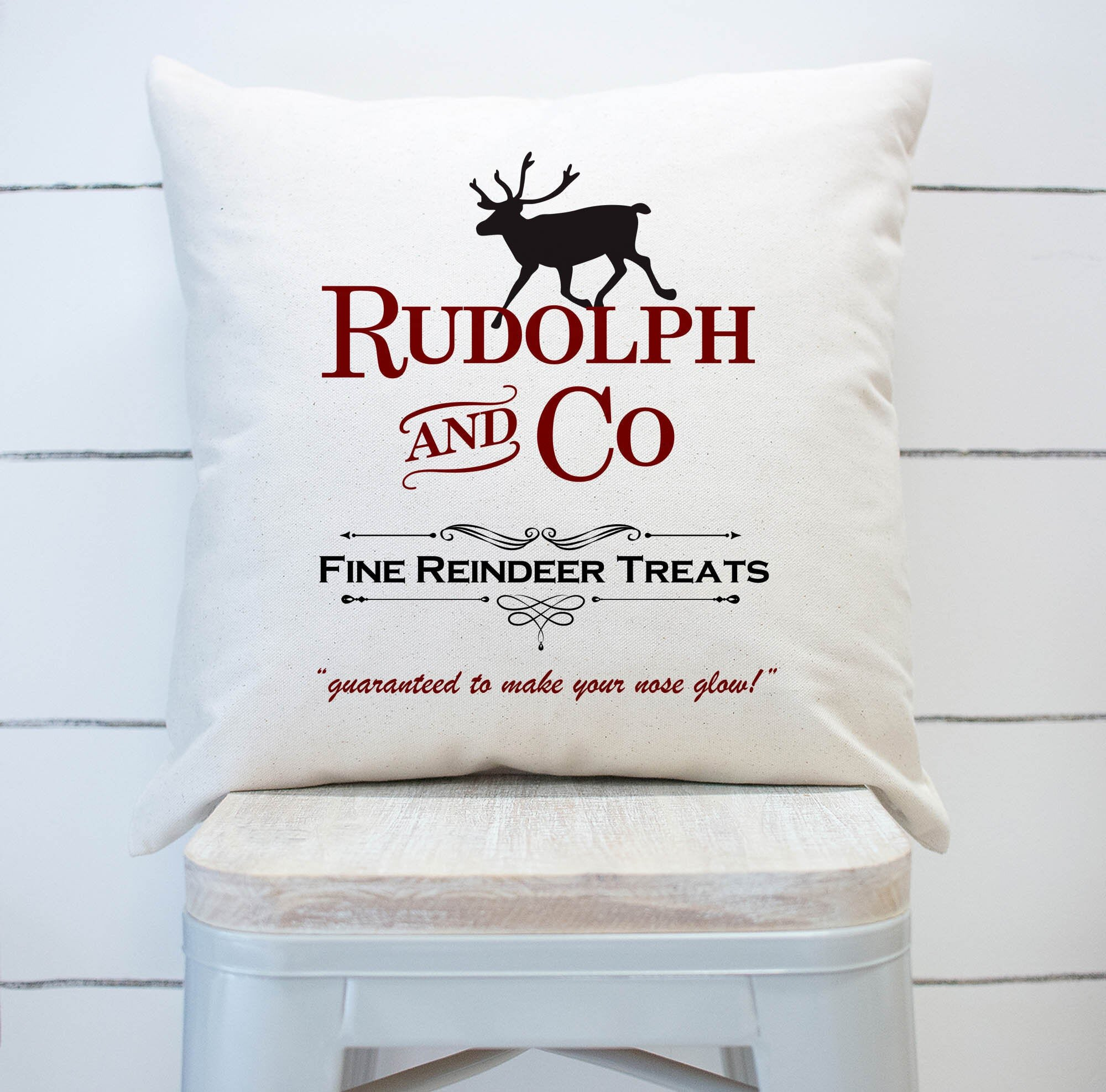 The Holiday Aisle Angier Rudolph And Co Christmas Square Pillow Cover Wayfair