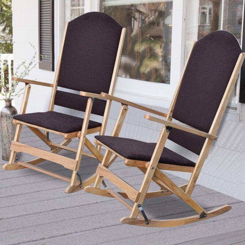 Fabulous Wildon Home ® Cedar Creek Solid Wood Folding Rocking Chairs  MH05