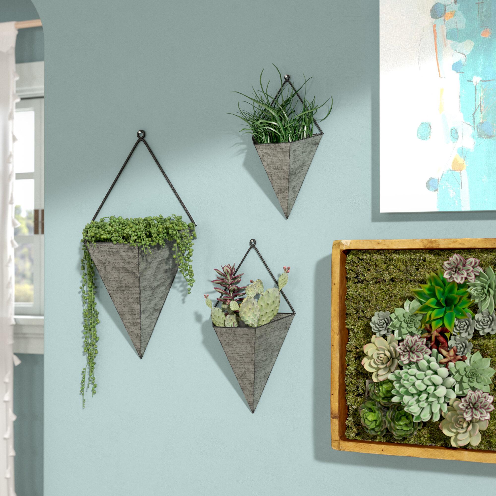 Ivy Bronx Amoroso Triangular Galvanized 3-Piece Metal Wall Planters ...