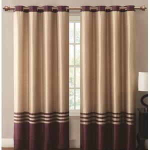 Beal Striped Room Darkening Grommet Single Curtain Panel