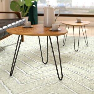 Bisson Hairpin Leg Wood 2 Piece Coffee Table Set