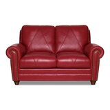 Priddy 62 Wide Genuine Leather Round Arm Loveseat by Red Barrel Studio®