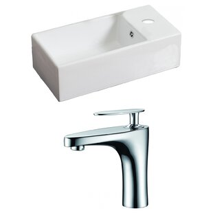 Where buy  Ceramic Rectangular Vessel Bathroom Sink with Faucet and Overflow By American Imaginations