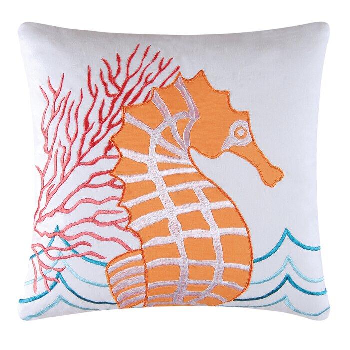 Kess InHouse Kess Original Deck The Hollies Orange Teal 23 x 23 Square Floor Pillow