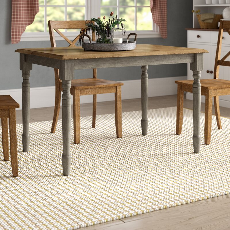 August Grove Sima Solid Wood Dining Table Amp Reviews Wayfair