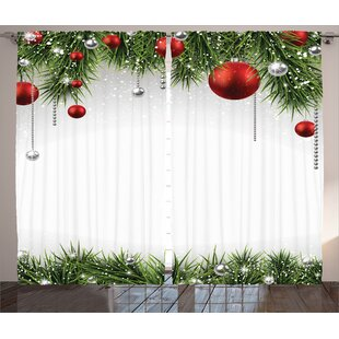 christmas decorations classical christmas ornaments and baubles pine tree twig tinsel print graphic print text semi sheer rod pocket curtain panels set