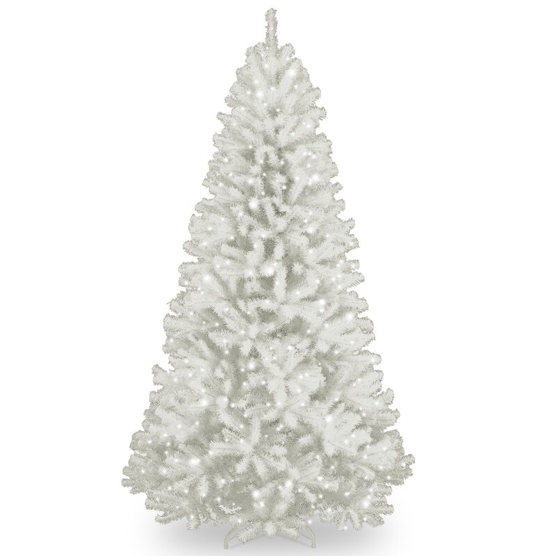 Spruce 7 White Artificial Christmas Tree With 550 Clear Lights And Stand