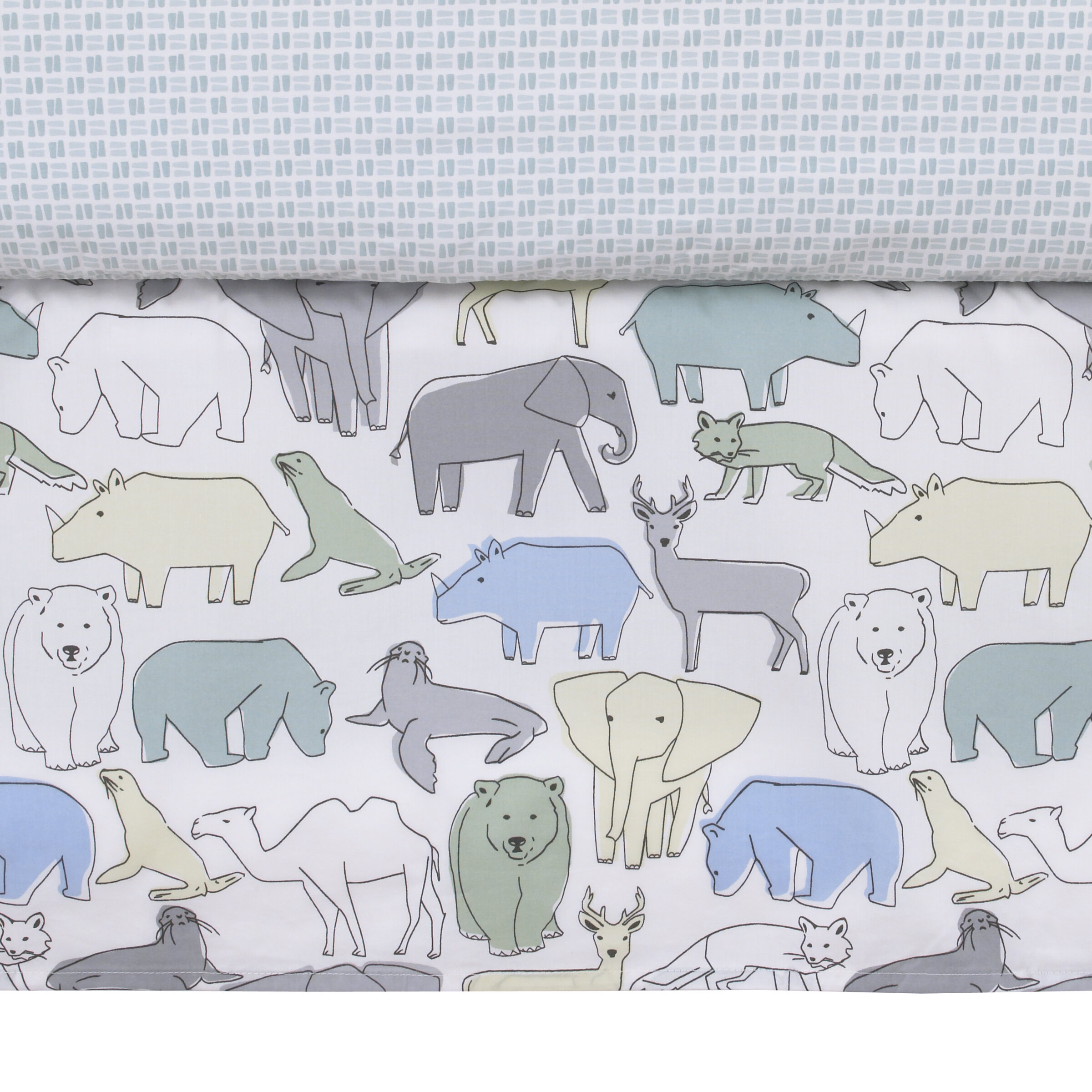 DwellStudio Caravan Animal Print Crib Skirt Aqua//Gray//Green//Yellow