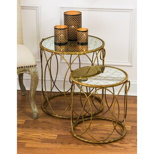 2-Piece Riga Mirrored Nesting Table Set