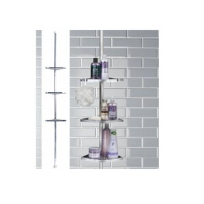 3tier chrome tension pole shower caddy