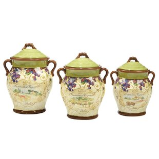 Carmel 3 Piece Kitchen Canister Set by Fleur De Lis Living 2019 Sale