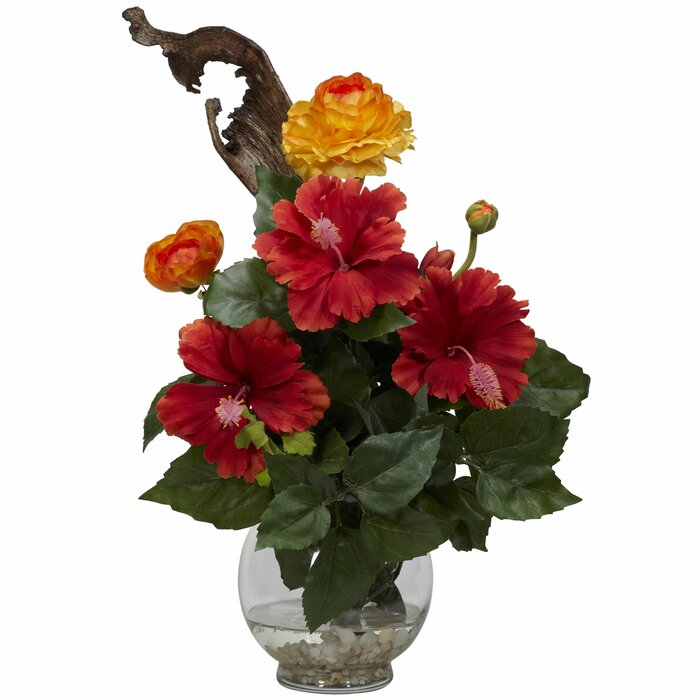 Nearly Natural Hibiscus Ranunculus In Fluted Bowl Silk Flower