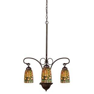 Meyda Tiffany Victorian Lodge Tiffany Acorn 3-Light Shaded Chandelier