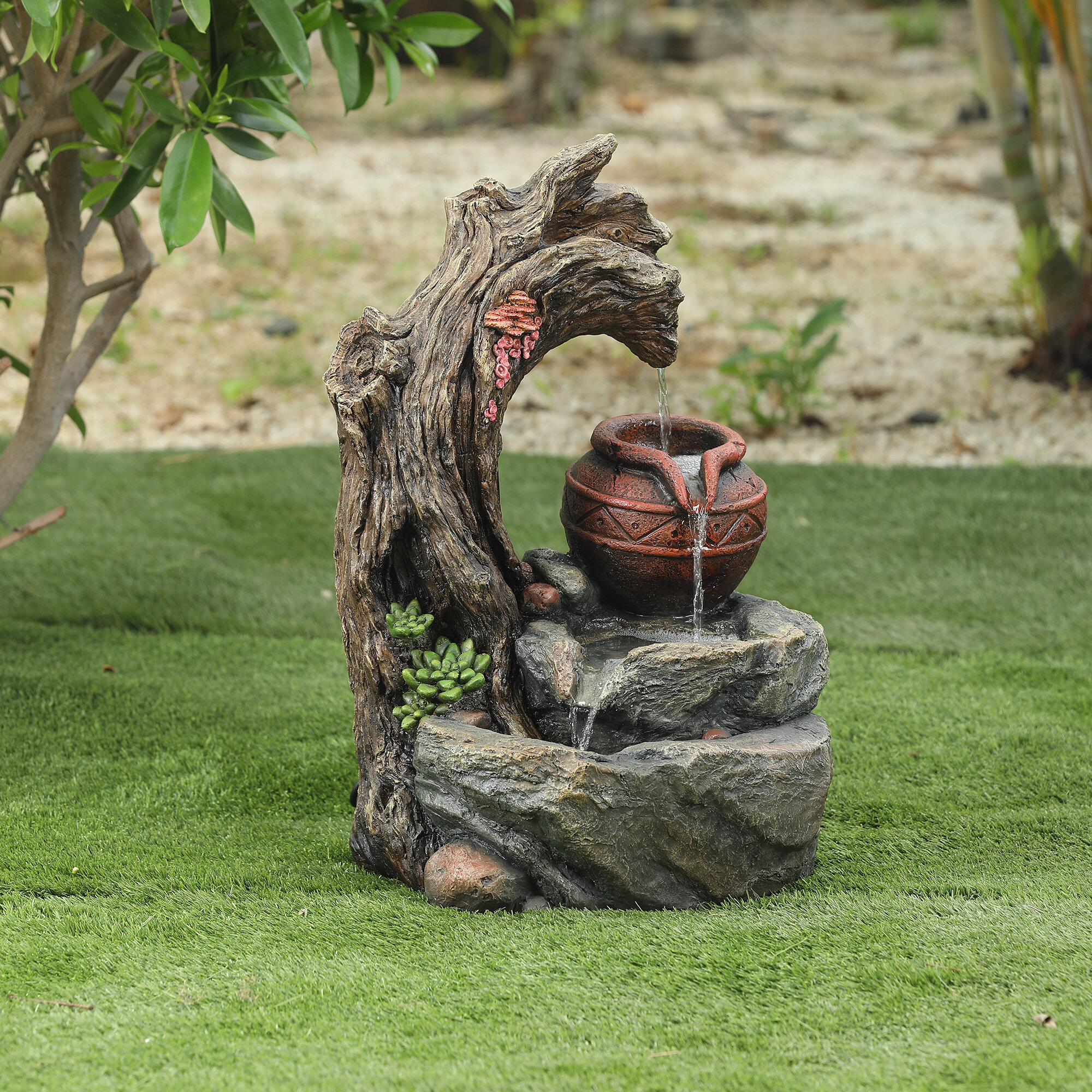 Tree Stump And Rock Outdoor Fountain