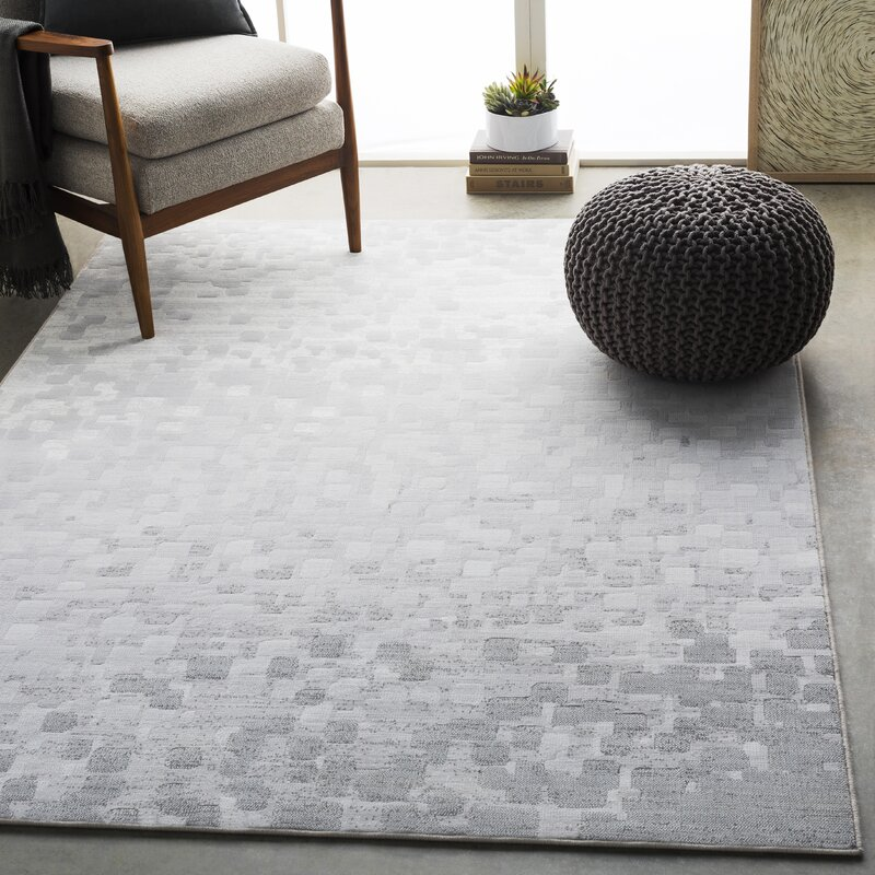 George Oliver Amelie Abstract Light Gray White Area Rug Reviews Wayfair