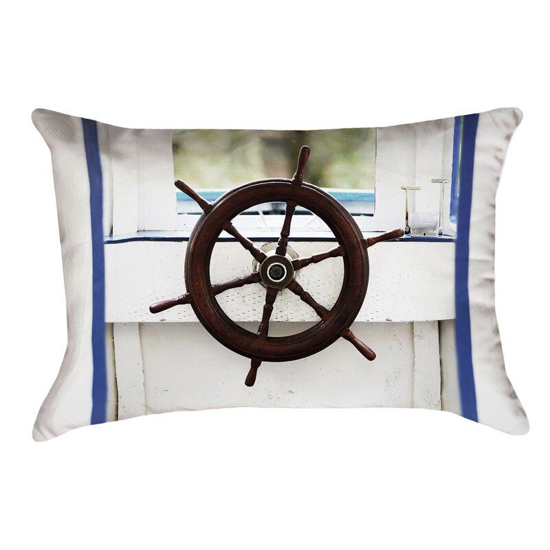 Anwar Boat Wheel Indoor/Outdoor Lumbar Pillow