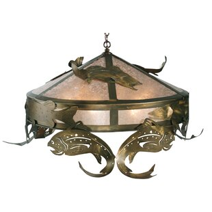 Meyda Tiffany Catch of the Day Trout 6-Light Bowl Pendant
