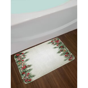 Christmas Tree Branch Border Bath Rug
