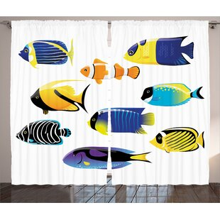 Surgeonfish Decor Wild Life Room Darkening Rod Pocket Curtain Panels (Set of 2) by East Urban Home