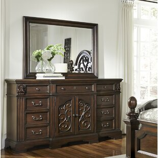 Corene 9 Drawer Combo Dresser with Mirror