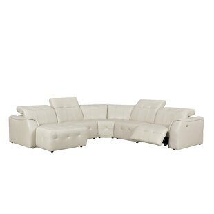 Latitude Run Loar Leather Reclining Sectional