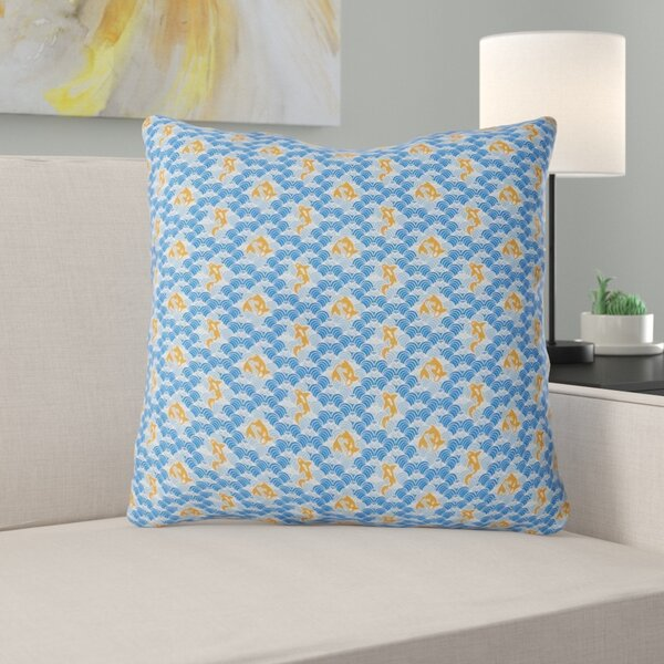 Latitude Run Avicia Koi Fish Waves Indoor Outdoor Throw Pillow Wayfair