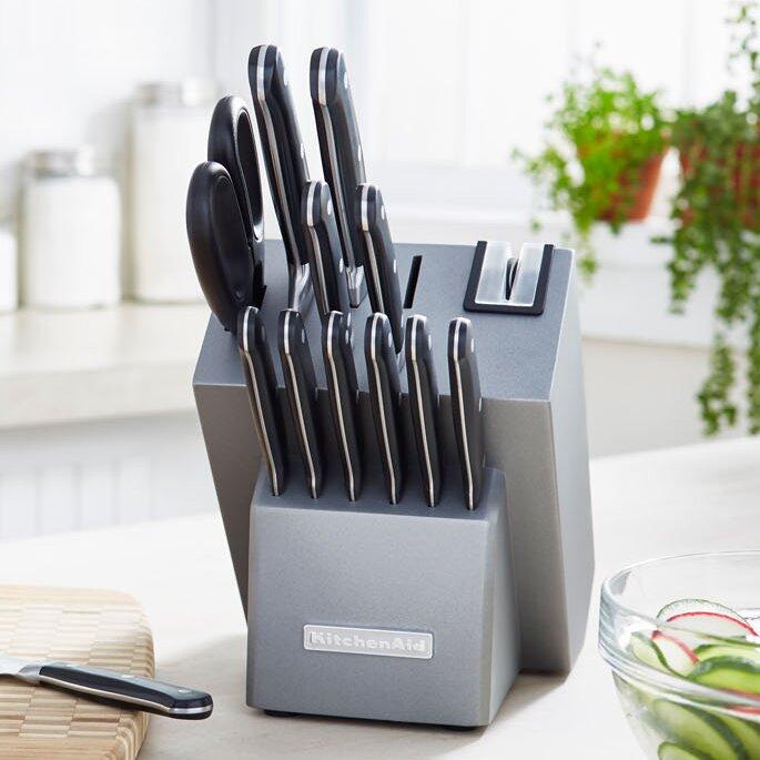 Kitchenaid Classic Forged 14 Piece Triple Rivet Cutlery Knife Block Set Reviews Wayfair