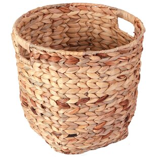 Vintiquewise Wicker Hyacinth Open Cutout Handles Waste Basket