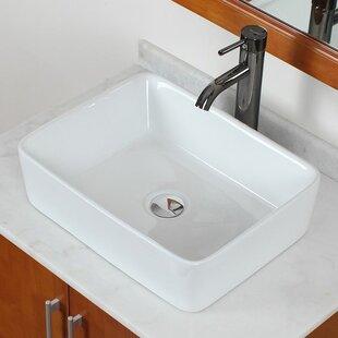 American Imaginations Ceramic Rectangular Vessel Bathroom Sink