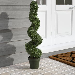 Artificial Boxwood Leave Spiral Topiary Plant In Pot