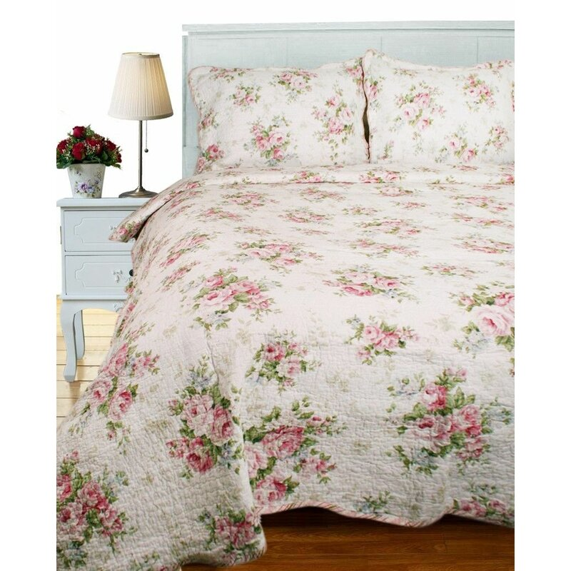 Kitchen Quilted Bedspread Pillow Shams Set Old Roses Lace Flowers Print