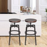 Tadcaster Swivel Adjustable Height Bar Stool (Set of 2) by Williston Forge