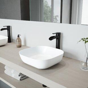 Comparison Camellia Stone Square Vessel Bathroom Sink with Faucet By VIGO