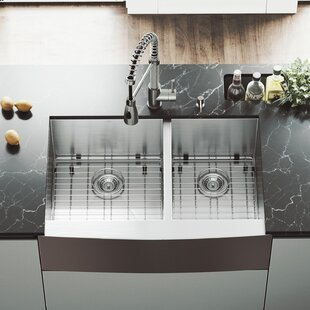 VIGO 33 inch Farmhouse Apron 60/40 Double Bowl 16 Gauge Stainless Steel Kitchen Sink with Brant Stainless Steel Faucet, Two Grids, Two Strainers and Soap Dispenser